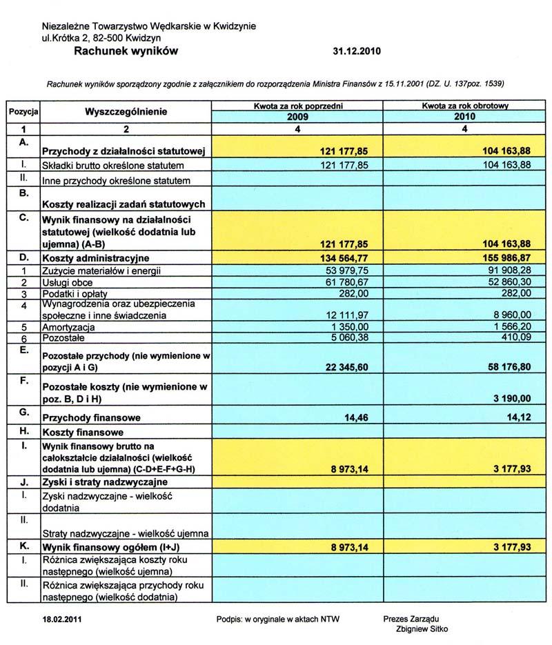 rachunek wynikow 2010